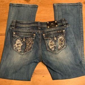 Miss Me Jeans Boot Cut Mid Rise Distressed Denim